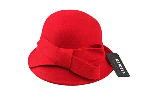 Dantiya-Femme élégante moderne chapeau melon en feutre avec accent nœud Rouge