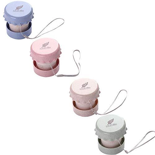 Qianyou 4 PCS Faltbar Tasse, Trinkbecher Plastik Bunt, 130ML Trinkbecher Plastik Weizen Becher Camping Tasse Milchbecher Kaffeebecher für Wasser Kaffee MilchTee Saft (Grün, Blau, Pink, Beige)
