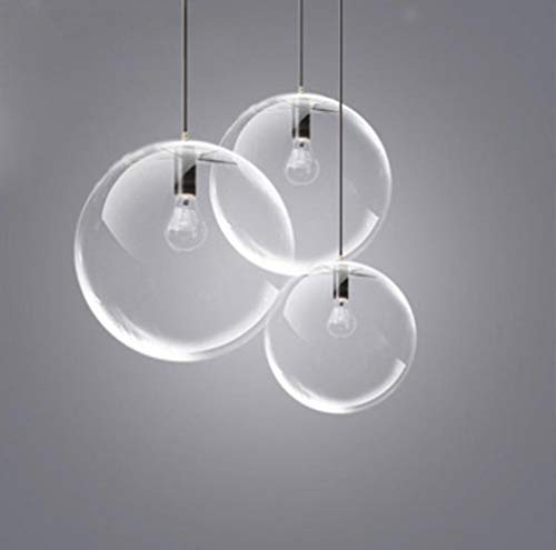 Glaskugel-Lampe Pendelleuchte Schwarz-transparente Glas Dining Hall Lampe Tischlampe E27 LED-Lampe Moderne, kaltes Weiß, Durchmesser 40cm -