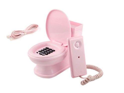 Das Telefon im Design von einer Toilette in Pink