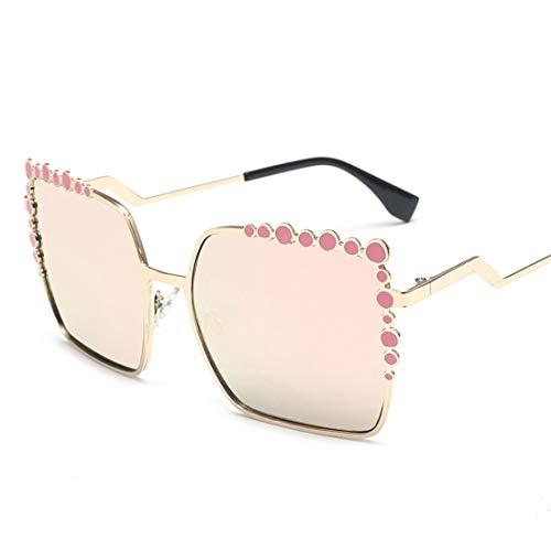 Polarisierte Sonnenbrille mit UV-Schutz Übergroße quadratische Sonnenbrillen für Frauen Metallrahmen umrandeten Sonnenbrillen große UV-Schutz Sonnenbrillen klassische Dame Sonnenbrillen Superleichtes