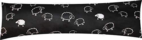 Heubergshop Mako-Satin Seitenschläferkissen Bezug 40x145cm - Schafe Lämmer in Schwarz und Weiß - Öko-Tex 100% Baumwolle Stillkissenbezug (SB-91/1-MS)