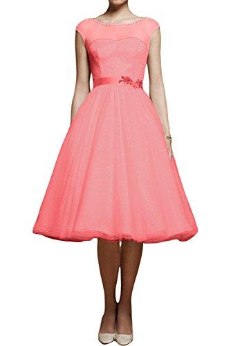 TOSKANA BRAUT Traum Abendkleider Kurz Tuell mit Spitze Braut Cocktail Party Ball Hochzeitskleider Wassermelonerot