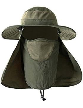 Protección Solar Al Aire Libre Pesca Cap Cuello Solapa Sombrero De Ala Ancha Cara
