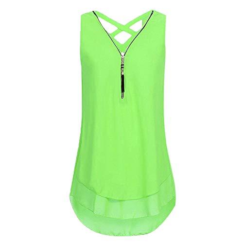 KIMODO Damen T-Shirt mit Reißverschluss, V-Ausschnitt Kurzarm Bluse Sommer Einfarbig Lässiger Oberteile Tops Große Größen Neu 2019