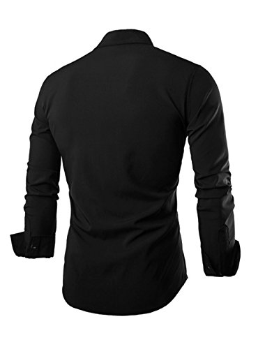Sourcingmap -  Camicia Casual  - Uomo Nero(Scozzese)