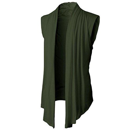 Preisvergleich Produktbild UFACE Herren Pure Slim Fit Cardigan Ärmelloses Shirt Ärmelloses Cardigan T-Shirt Casual Slim Fit Kleid Shirts Formal (L, Armeegrün)