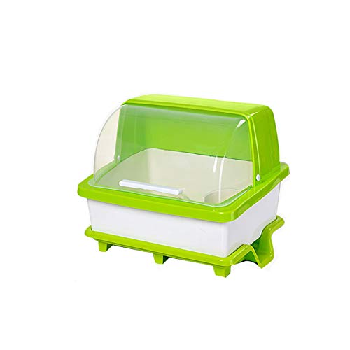 FINLR Küche Geschirr Aufbewahrungsbox Ablaufschale Rack Bowling Box verdicken Kunststoff (Farbe : Grün)