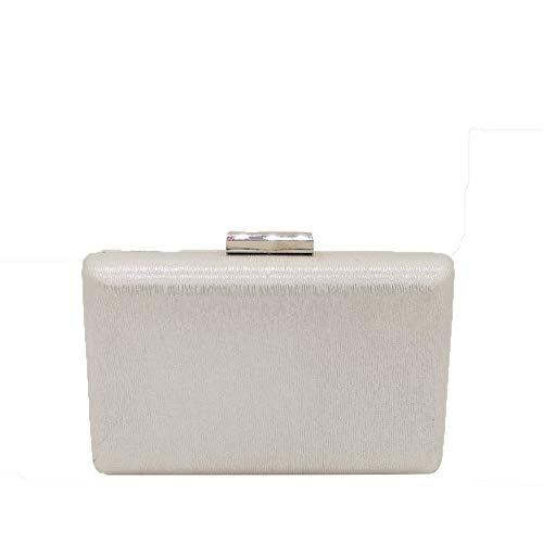 Hufeisen-muster (Yany Damen Abendkleid Mode PU Querschnitt Quadrat Muster Leder Bankett Handtasche Persönlichkeit Wild Hard Shell Magnetschnalle Einfarbig Kette Tasche (Color : Silver))
