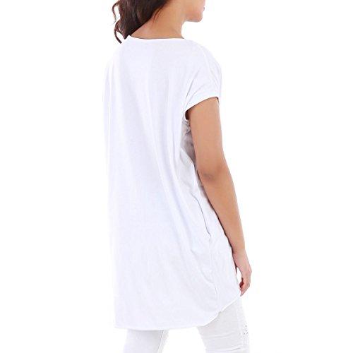La Modeuse - Top long asymétriqueà manches courtes Blanc