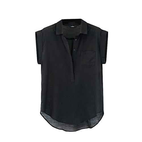 Masterein Feste Farbe Frauen lose T-Shirt Baumwolle Leinen Bluse V-Ausschnitt ärmellose Sommer T-Shirts Hemden Westliche Sommer-shirts