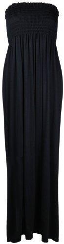 Neu Damen Einfarbig Lang Trägerlos Elastisch Schur Damen Bandeau elastisch Bustier Sommer Maxikleid (SCHWARZ, M/L (UK 12-14))