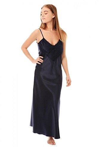 667f377a4f7cd Undercover Womens Satin & Deep Lace Long Chemise Nightdress N50 Navy XXOS