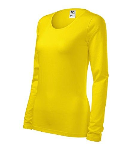 Damen T-Shirt Langarm formbeständig Shirt Slim von Adler (M, gelb) (T-shirt Adler)