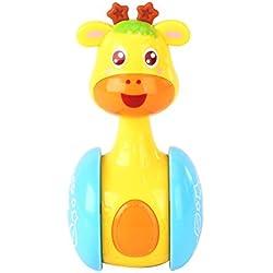 De dibujos animados de la jirafa del vaso de la muñeca de brazo de gitano juguetes del bebé lindo anillo de los traqueteos de Bell recién nacidos 3-12 meses juguete educativo temprano