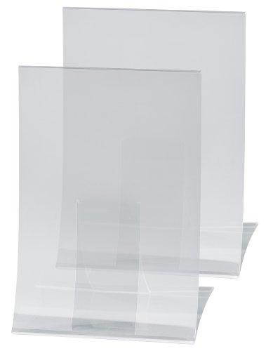 Sigel TA160 Tischaufsteller klappbar, 2 Stück, für A4, Hartplastik glasklar