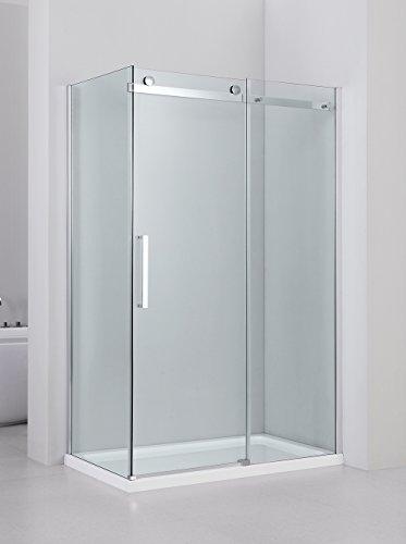 YellowshopCabine de douche en niche, avec porte coulissante réversible, en verre trempé Transparent 8mm