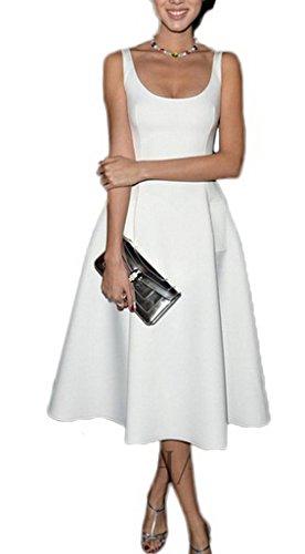 Smile YKK Femme Rétro Robe Peplum Sans Bretelles Moulante Elégante Elastique Blanc