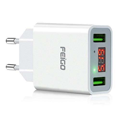 FEIGO USB Ladegerät 2-Port 5V/2.2A Wall Charger Netzteil mit LED Digitaler AnzeigeUS/EU Reise Stecker für Galaxy S7/Edge/S8/S9/Plus iPhone 6/7/8/Plus/X Bluetooth/Tragbar Geräte Weiß
