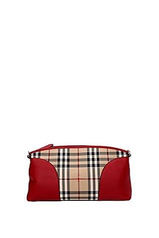Sac à main Burberry Femme Polyamide Rouge, Check Burberry et Or 3992861 Rouge 8x17x31.5 cm