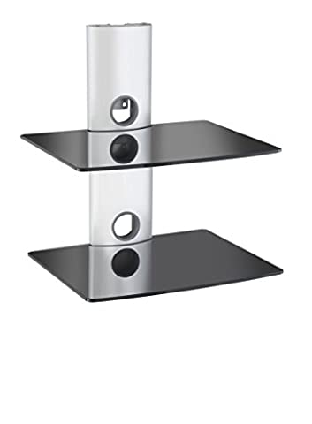 VonHaus Floating Shelves for Sky Box, PS4 or XBox | Two Tiered Black Glass & Silver Bracket Mount