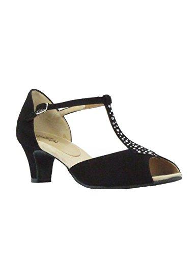 9292 Rumpf Damen Tanzschuhe Latein Salsa Rumba Tango Ballroom Schuhe Material Nubuk, Chromledersohle Absatz 5 cm, Made in Italy Schwarz
