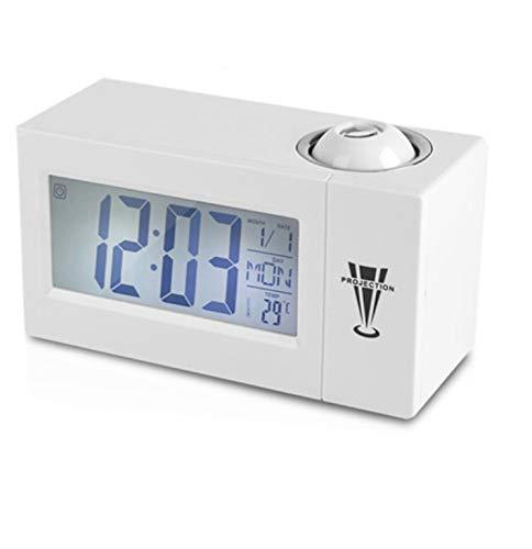 Renfengchui LCD-Bildschirm Digitaler Led-Projektionswecker Kalender Temperatur Luftfeuchtigkeit Aufwachen Schlummerfunktion Tisch Tischuhr Nachtlicht B