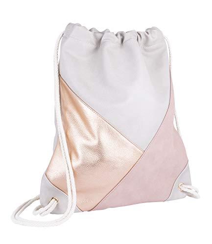 eutel aus beigem veganen Leder, Beiger Kordelnzug, Aufnäher in rosé-Gold aus Lederimitat und rosa Velourslederoptik (726-764) ()