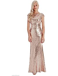 Goddiva Champagne Sequin Open Back Maxi Evening Dress Bridesmaid Prom Ball  Party 981dca9d08383