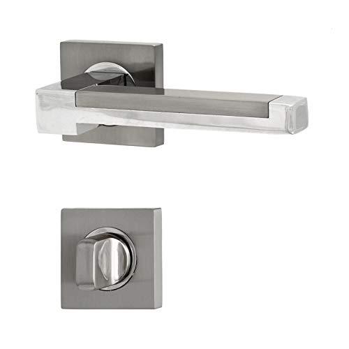 Türbeschläge, Türgriff für Zimmertüren - Innentüren - Holztüren H59Q16-CP/SN (WC - Badezimmer) -