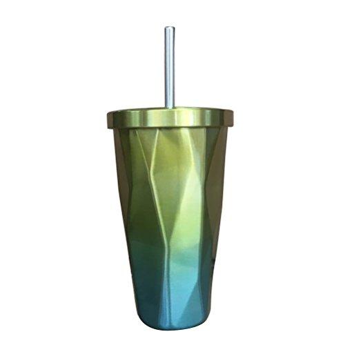 BESTONZON Edelstahl Tumbler mit Stroh heißen und kalten Doppelwand Trinkbecher Kaffeetassen 500ml...