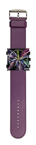 S.T.A.M.P.S. Stamps Uhr KOMPLETT - Zifferblatt Magic Blossom mit Lederarmband violett