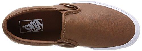 Vans U Classic Slip-On Leather, Baskets Basses Mixte Adulte Marron (Leather/Brown)