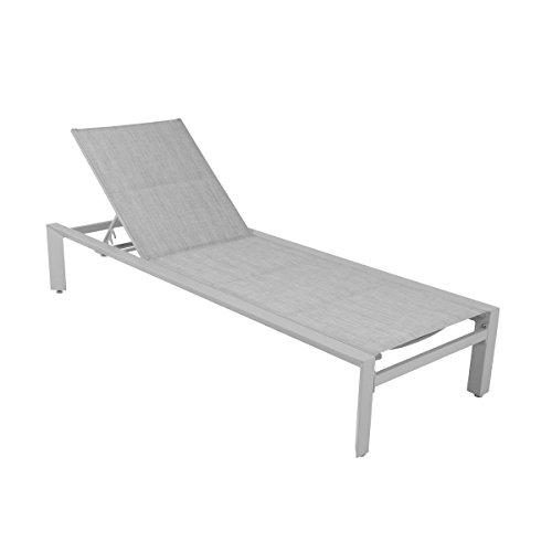 greemotion Liege Stockholm weiß/grau, Gartenliege mit 5-fach verstellbarer Rückenlehne, flache...