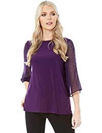 31712a5be91748 Roman Originals Women Embellished Chiffon Sleeve Top - Ladies Evening  Christmas Party Going Out Glitter Diamante