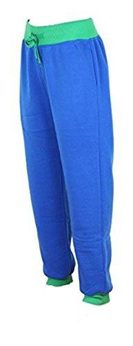 Damen Sweatpant / Jogginghose / Turnhose / Sporthose / Trainingshose in 1 und 2 farbig Contrast Royal/Grün