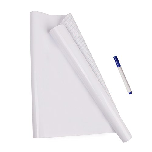 Pizarra Sticker memo Papel de pared removible de pizarra Auto - adhesivo de pared de pizarra Chalkboard Wall Paper / tiza pizarra Sticker Decal La escuela y el hogar (200 x 45 cm) Free 1 pluma pizarra (Blanco)