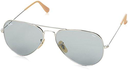 RAYBAN JUNIOR Unisex-Erwachsene Sonnenbrille Aviator Silver/Photoblue 58