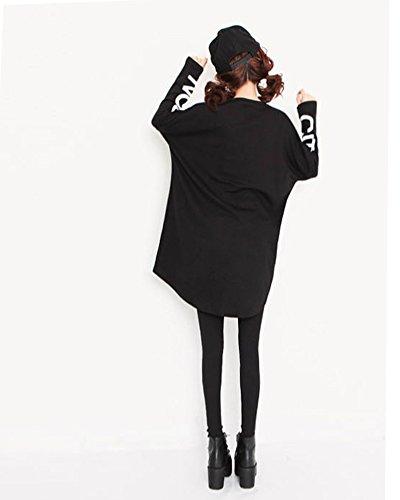 Minetom Damen Longshirt Langarm Loose Fit Langarm Pullover Rundhals Sweatshirt T Shirt Asymmetrie Oberteil Schwarz