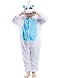 Kigurumi Pijama Animal Entero Unisex para Niños con Capucha Cosplay Pyjamas Unicornio Ropa de Dormir Traje de Disfraz para Festival de Carnaval Halloween Navidad