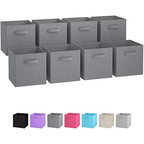 gsboxen (8er Set) | Boxen Werden Mit 2 Griffen | Regal Korb | Faltbox Regalorganizer aus Stoff | Aufbewahrungsbox für Kallax 26,5 x 26,5 x 28 cm (Grau) ()
