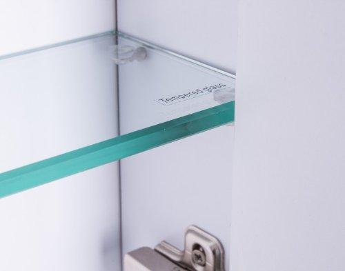 Galdem CURVE100 Spiegelschrank, Holz, 100 x 70 x 15 cm, Weiß - 5