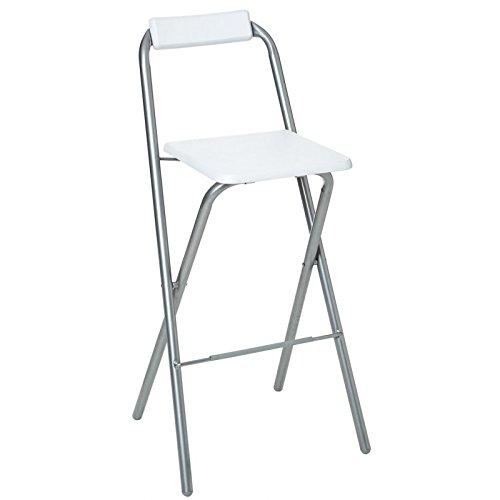 AC-Déco Chaise de Bar Pliable - Lot de 2 - Blanc - Louna