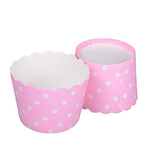Beiersi Backen Tassen 24Stück-Set Papierkuchen Muffin Backformen Muffinförmchen Cupcake Wrappers Liner Dessert Muffin Cases für Halloween Hochzeit Geburtstag Party Dekoration Weihnachten (Rosa)