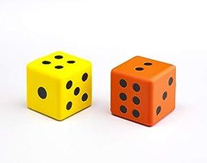 edx education 75148 Juego de dados de espuma, 2 unidades, color amarillo y naranja