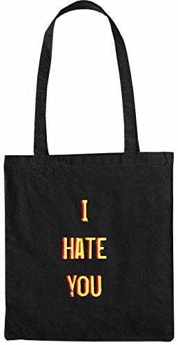 Mister Merchandise Tasche I Hate You Stofftasche , Farbe: Natur Schwarz