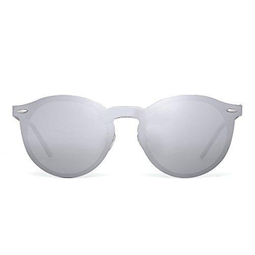Sonnenbrille Spiegel Polarisieren Rahmenlos Club Runden Randlos Reflektierend UV400(Silber/Polarisierter Silber)