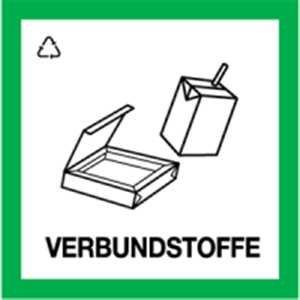 Aufkleber Wertstoffkennzeichnung VERBUNDSTOFFE 30x30cm