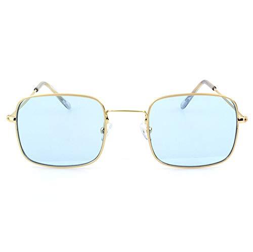 HJL Kleine quadratische Sonnenbrille, Flache transparente Sonnenbrille mit Metallrahmen und Federscharnieren, Sonnenbrille für Männer Frauen Aviator Polarisierter Metallspiegel UV 400 Linsenschutz,F