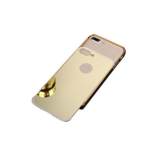 Minto Luxus Aluminium Metall Spiegelhülle Schutzhülle + Panzerglasfolie iPhone 5 / 5S / SE Spiegel PC Rückseite Case Cover Hülle Gold + Metall Bumper Rahmen Echtglas Hartglas Schutzfolie 9H Silber -p9 lite